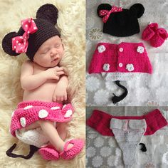 Infant Baby Crochet, Baby Photo Prop Minnie Mouse Outfit Costume Hat/Shoes/Diaper cover,Newborn photo prop, baby girl clothes, baby costume on Etsy, $19.99