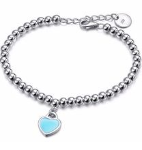 Fashion sliver plated simple heart shape Bracelets for Women party and christmas gift Beads ID Bracelets & Bangles For Women(China (Mainland))