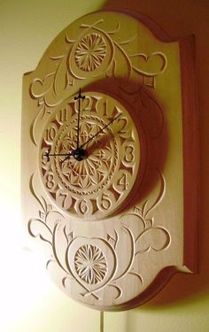 Beautiful chip-carved pendulum clock by miraclechicken on Etsy