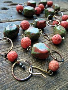 Unakite necklace, Pink Green Chunky semiprecious stone Rustic glass Raw brass - Water Lily on Etsy, $56.00