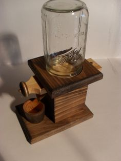 Wooden Peanut Dispenser / Candy Dispenser With Mason Jar