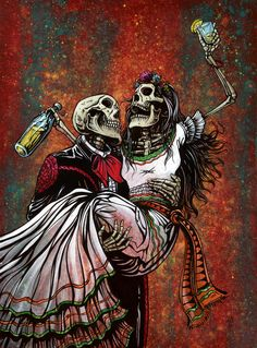 """Bottoms Up"" by Day of the Dead Artist David Lozeau"