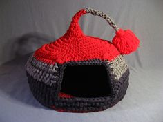 Crocheted Cat Cave Pet house Pet Bed Gray and Red with by EnebrOso - various other ones available also