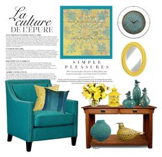 """""""Teal and Yellow Decor"""" by hastypudding ❤ liked on Polyvore featuring interior, interiors, interior design, home, home decor, interior decorating, Anja, Elements, KD Furnishings and iittala"""