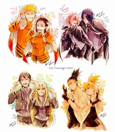 NaruHina, SasuSaku, SaiIno, and ShikaTema. Girls wearing their guys' clothes.