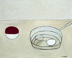 William Scott, [Bowl and Pan with Two Eggs], 1981 or 1982, Oil on canvas, 40.4 × 50.5 cm / 16 × 20 in, Private collection