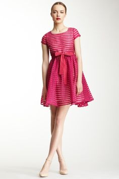 RED Valentino Short Sleeve Sheer Stripe Dress by RED Valentino & LOVE Moschino on @HauteLook