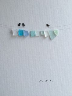 12 by 16 sea glass laundry line by sharon nowlan by PebbleArt