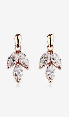Fashion Gemstone Gold Leave Earrings