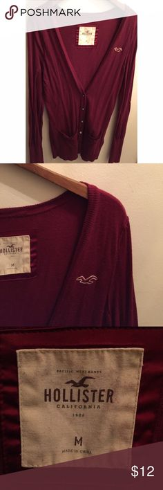 Red Hollister Cardigan Worn lightly and in great condition. ❥ American Eagle Outfitters Sweaters Cardigans