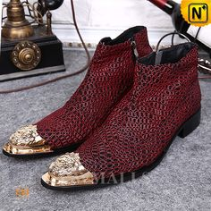 Top quality men Alligator Pattern genuine leather zip side ankle boots rivets riding boots men dress red bottom shoes plus size Ankle Boots Dress, Ankle Boots Men, Mens Shoes Boots, Dress With Boots, Male Shoes, Red Leather Boots, Leather Dress Shoes, Leather Men, Cowhide Leather