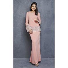 Juwita Modern Kurung with Sequin Lace in Pink Muslim Fashion, Modest Fashion, Hijab Fashion, Fashion Dresses, Blouse Dress, Lace Dress, Baju Kurung Lace, Muslimah Wedding Dress, Formal Looks