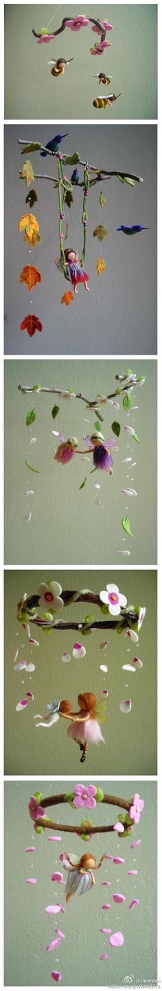Felted Fairy Mobiles - Love these