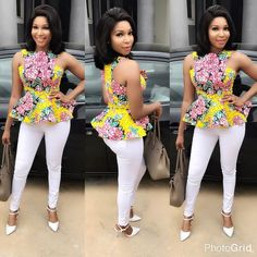 20 Lovely Ankara Tops and Trouser Styles For Ladies - Ankara collections brings the latest high street fashion online Latest African Fashion Dresses, African Dresses For Women, African Print Fashion, African Attire, African Wear, African Prints, African Style, Ankara Fashion, African Women