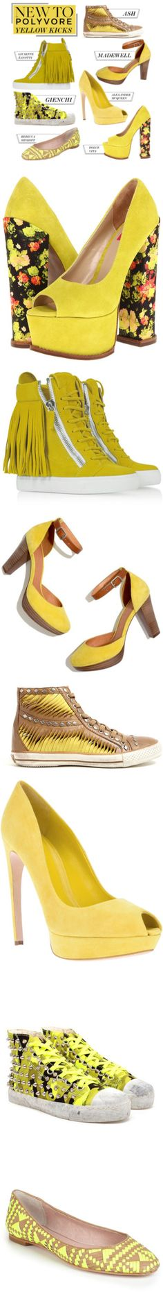 """""""New to Polyvore: 7 Yellow Kicks Worth Wearing"""" by polyvore-editorial ❤ liked on Polyvore"""