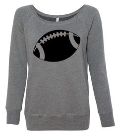 This off the shoulder sweatshirt, for the football mom or team supporter, is so incredibly soft and looks great with leggings and boots. Great way to show your team spirit!