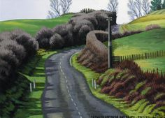 Dick Frizzell, 2015, Between Rotorua and Taupo, acrylic on canvas, 520x670mm