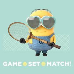 Despicable Me. Minions playing tennis Despicable Me. Keep Calm Minions, Minions Love, My Minion, Minion Humor, Funny Minion, Tennis Shop, Tennis Party, Le Tennis, Tennis Gifts