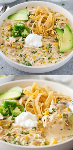 Headed to a watch-party for the game tonight? Don't forget to bring a huge batch of this Slow Cooker Creamy White Chicken Chili.