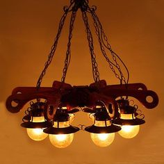European Style Wood E27 8 Lights Lighting Lampshade Droplight Hanging Light