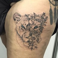 50 eye-catching lion tattoos that'll make you want to get in Tiger Tattoo Thigh, Tiger Tattoo Sleeve, Tribal Sleeve Tattoos, Thigh Tattoos, Irezumi Tattoos, Back Of Shoulder Tattoo, Shoulder Tattoos For Women, Sleeve Tattoos For Women, Tribal Animal Tattoos