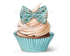 Blue Cupcake with flower print bow  Printable Digital от DidiFox, $3.50