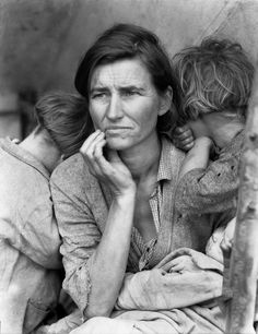 Dorothea Lange, This photograph of Florence Owens Thompson year old mother of is one of the great representations of the Great Depression. The photograph was taken by Dorothea Lange after Florence had sold her tent to provide food for her children.