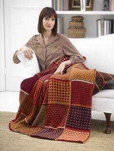Free Knitting Pattern: Fall Colors Afghan