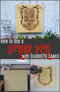 How to Use Singe Quill Pen with Silhouette CAMEO on Wood - Silhouette School Silhouette Cameo Tutorials, Silhouette Projects, Silhouette Design, Silhouette Files, Silhouette Studio, Diy Projects, Project Ideas, Woodworking Projects, Craft Ideas