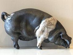 Charlotte Standing Saddleback Ceramic Pig by Christine Cummings