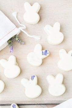 Lavendar white choc bunnies
