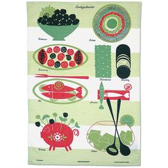 lazy lunch tea towel - green main image  This tea towel features a fabulous vintage design by Louise Fougstedt from the 1950's New House Textiles