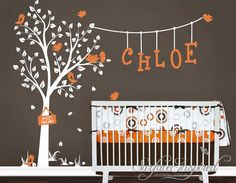 Nursery Wall Decals. Cute garden tree wall decal with custom name decal and birds. Name and tree decal for girls and boys nursery. 1015