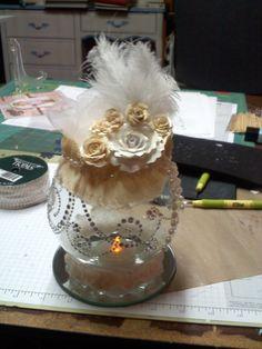 Altered vase electric tea light