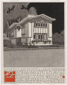 "Frank Lloyd Wright. American System-Built Houses for The Richards Company, project, Milwaukee, Wisconsin, Perpsective of model J902. c. 1915-17. Lithograph, 11 x 8 1/2"" (27.9 x 21.6 cm). Gift of David Rockefeller, Jr. Fund, Ira Howard Levy Fund, and Jeffrey P. Klein Purchase Fund. © 2012 Frank Lloyd Wright Foundation / Artists Rights Society (ARS), New York"