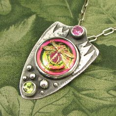 """Pink and Green Dragonfly """"Delicate Flier"""" Sterling Pendant with sim Pink Tourmaline, Peridot and Czech Glass button - OOAK by marybird on Etsy"""