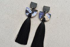 Tiered Tassel Galaxy / Tassel Earrings / Polymer Clay