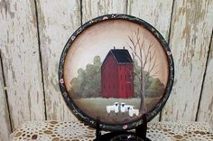 Hand Painted Folk Art Primitive Red Saltbox  Plate with Rack Candle Cup  OFG Team. $19.98, via Etsy.