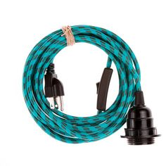 Color Cord Company - Pendant Light Cord (grounded plug) - Turquoise & Brown