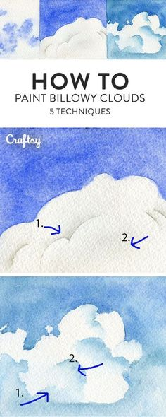 Paint the perfect cloud with this watercolor tutorial. Learn 5 different ways to realistically recreate the sky! #watercolorarts