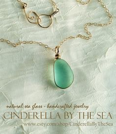 Genuine Sea Glass Beach Glass Jewelry, Large Aqua Sea Glass Necklace in 14 kt Gold Fill with 18 inch Chain by CinderellaByTheSea on Etsy Sea Glass Necklace, Sea Glass Jewelry, Pendant Necklace, Sea Glass Beach, Timeless Beauty, Precious Metals, Fill, Cinderella, Favorite Things