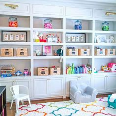 Organized Playroom Shelves