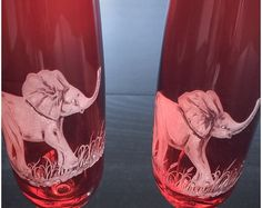Hand Engraved Waterford Champagne Flute Elephants, champagne flutes elephant etched, toasting flutes etched, house warming gift, African Art