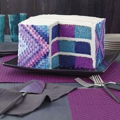 Pixelated checkerboard cake