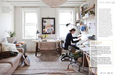 Cozy home office, drafting table, desk, and framed pics. Home office. studio office of miranda brooks via lonny Art Studio Design, Art Studio At Home, Home Art, Workspace Design, Home Office Design, House Design, Office Designs, Office Ideas, Office Style