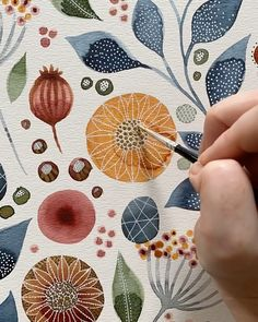 """Kate Rebecca Leach on Instagram: """"Here's a little sneak peek of some of my techniques for drawing flowers and decorating leaves! Swipe through to see the final piece……"""" Abstract Watercolor Art, Watercolor Leaves, Watercolor Paintings, Watercolors, Process Art, Art File, Art Plastique, Graffiti Art, Flower Designs"""