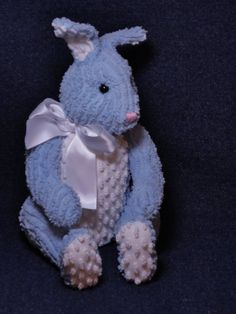 Vintage Chenille Jointed Bunny Rabbit.. Blue And White Bedspread Fabric