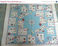 Vintage 1950s Tablecloth Western States Cartoony by drcarrot, $40.00