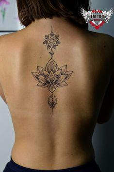 Ornamental tattoo on back by Vіka Klochko Lace Tattoo Design, Lotus Tattoo Design, Henna Tattoo Designs, Flower Tattoo Designs, Mommy Tattoos, Girly Tattoos, Pretty Tattoos, Back Of Neck Tattoo, Back Tattoos