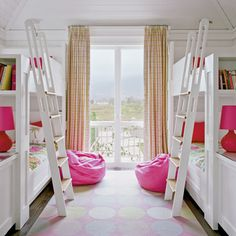 Use one bold color with white in a kids' bedroom.